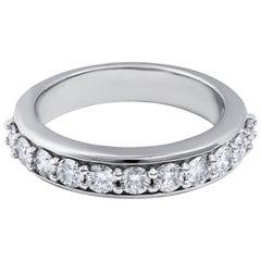 0.92 Carat Round Diamond Wedding Band in 14 Karat White Gold