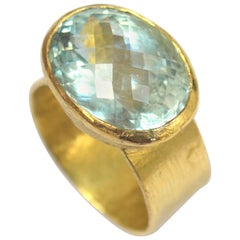 Chequerboard Cut Aquamarine Wide 18k Gold Cocktail Ring Handmade by Disa Allsopp