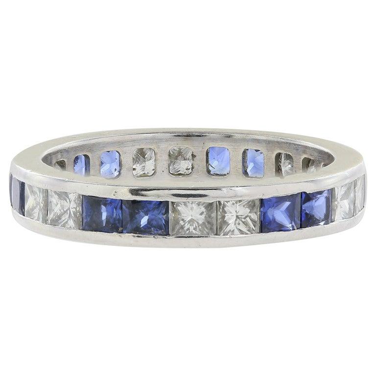 Platinum Sapphire and Diamond Eternity Band
