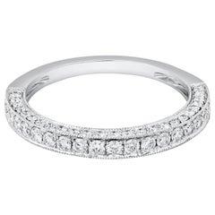 0.74 Carat Round Diamond Wedding Band in 18 Karat White Gold