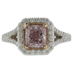 GIA Certified 1.40 Carat Fancy Purple-Pink Radiant Diamond with Halo Setting