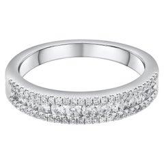 Three-Row Diamond Wedding Band in 18 Karat White Gold