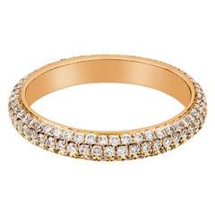 1.01 Carat Pave Diamond Rounded Eternity Wedding Band in 18 Karat Rose Gold