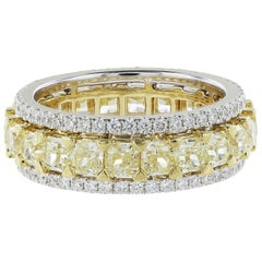 18 Karat Yellow and White Gold 3.53 Carat Canary Radiant Cut Eternity Band
