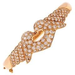 1980s Heart Motif Diamond Yellow Gold Hinged Bangle Bracelet