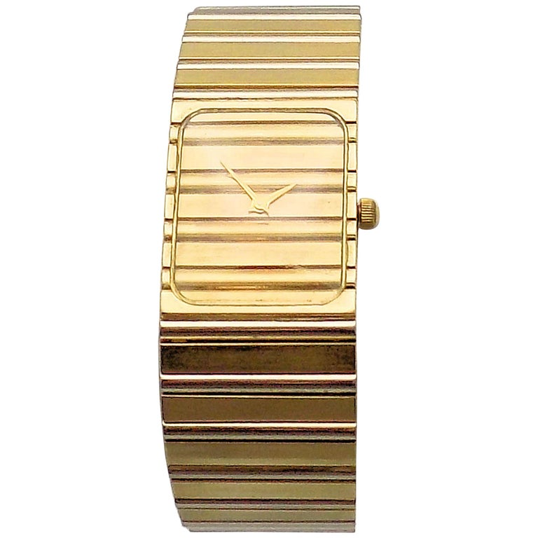 Yellow and White Gold Manual Wristwatch For Sale