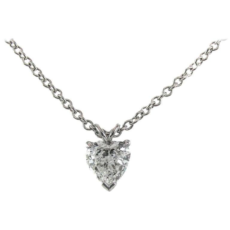 GIA Certified .99 Carat Heart Shaped Diamond Platinum Pendant