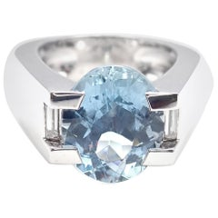 Cartier Large Aquamarine Diamond White Gold Ring