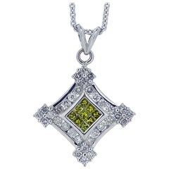Contemporary Yellow Diamond, White Diamond, Pendant, 1.57 Carat, White Gold