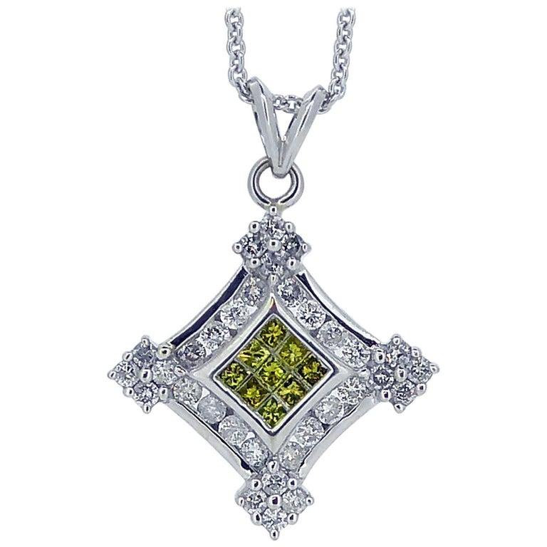 Contemporary Yellow Diamond, White Diamond, Pendant, 1.57 Carat, White Gold
