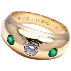 Cartier Diamond Center Emerald Yellow Gold Band Ring