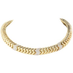 Bvlgari Yellow Gold and Diamond Collar Necklace