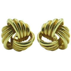 Pair of Gold Knot Earrings