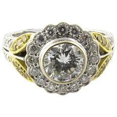 Natural White Yellow Diamond 18K White Gold Cluster Flower Ring 1.55cts IGI cert
