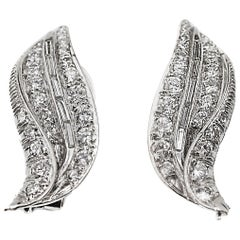 1950s Diamond Platinum Ear Clips