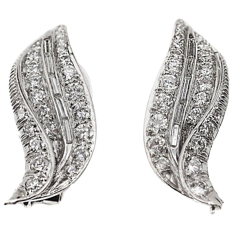 1950s Diamond Platinum Ear Clips