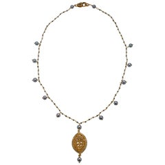 Susan VanGilder  Akoya Pearl Gilded Silver Necklace White Sapphire Pendant