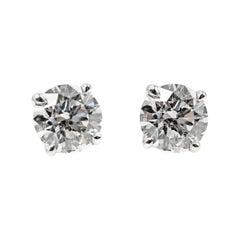 1.07 Carat GIA Certified Round Brilliant Cut Diamond Platinum Stud Earrings