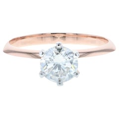 Classic Rose Gold and White Gold Round Diamond Engagement Ring 'GIA'