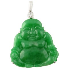 18 Karat Gold Natural Jade and Diamond Buddha Pendant 75.94 Carat