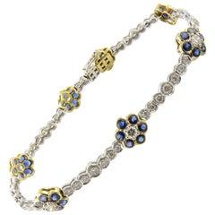 18K White Yellow Gold Natural Sapphire Diamond Floral Bracelet