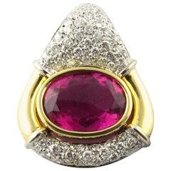 IGI Cert 18K Yellow White Gold Natural Pink Tourmaline Diamond Pendant Enhancer