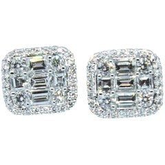 Rectangular Diamond Stud Earrings in 18 Karat White Gold