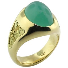 Chrome Chalcedony and Gold Nugget 18 Karat Men's Ring