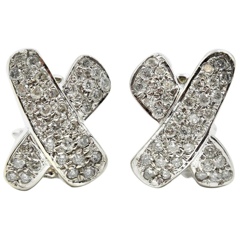 "2.16 Carat Round Diamond 14 Karat White Gold Omega Back ""X"" Earrings"
