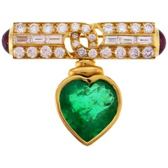 Bulgari Heart Emerald Yellow Gold Pin Brooch Clip with Diamond and Ruby Bvlgari