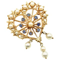 Vintage Pearl and Blue Sapphire 14 Karat Yellow Gold Pin