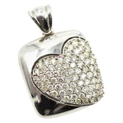 1.00 Carat Diamond 14 Karat White Gold Pave Heart Pendant