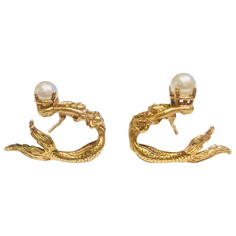 Beautifully Detailed Mermaid Three Dimensional Yellow Gold Pearl Wrap Earrings For Sale