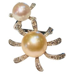 Fashionable Flower Wrap Around Design Pearl and Diamond White Gold Ring