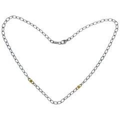 Judith Ripka 925 Sterling Silver 18 Karat Gold Chain Link Necklace