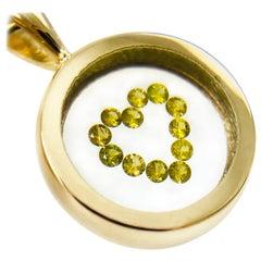 Floating Canary Yellow Diamond Heart Circle Pendant