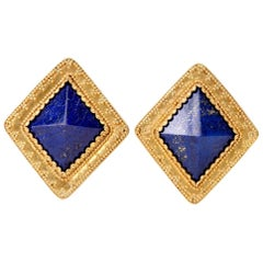 Estate Large 22 Karat Lapis Lazuli Gold Clip Earrings