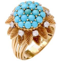 English Persian Turquoise Diamond 18 Karat Gold Cocktail Ring