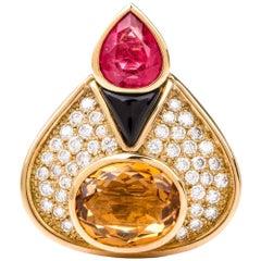 1980s Tourmaline Diamond Citrine 18 Karat Gold Pendant Enhancer