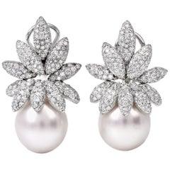 Stefan Hefner 18 Karat Diamond Pearl Clip-On Gold Drop Earrings