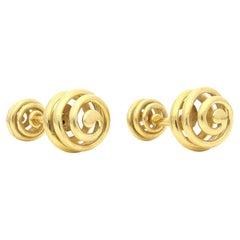 Schlumberger Pair of 18 Carat Yellow Gold Spherical Spiral Cufflinks