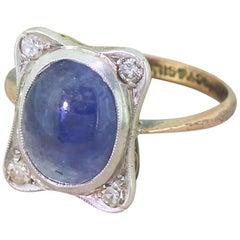Edwardian Cabochon Sapphire and Eight-Cut Diamond Ring, circa 1905