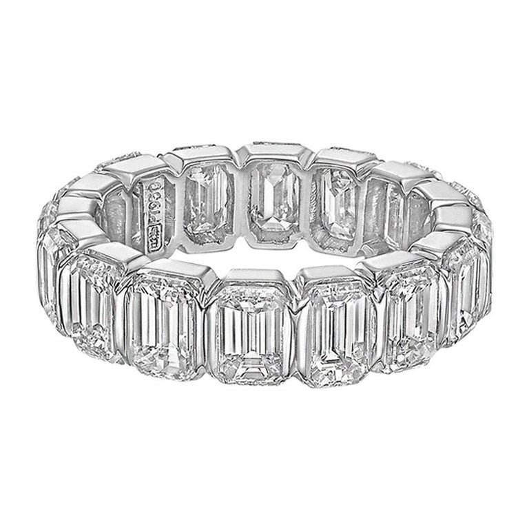 Harry Winston Emerald-Cut Diamond Eternity Band 8.11 Carat For Sale