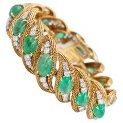 "David Webb Emerald & Diamond Ribbon Bracelet - 18k Gold / Platinum w. 65 Cts. 7"""
