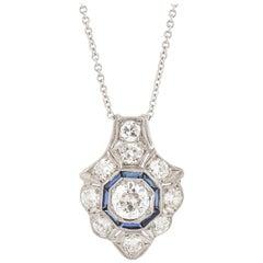 1920s Platinum Diamond Sapphire Pendant