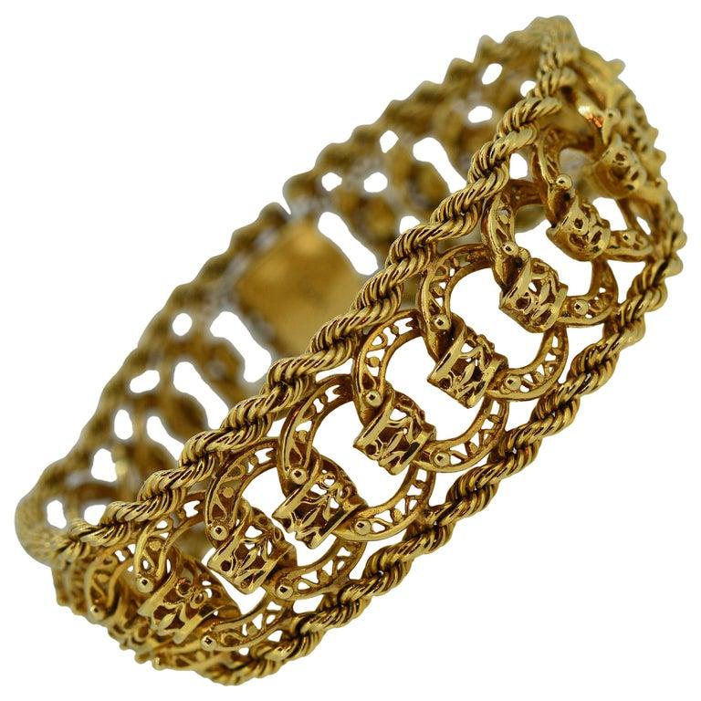 1950's Classic 14 Karat Yellow Gold Woven Open Link Bracelet