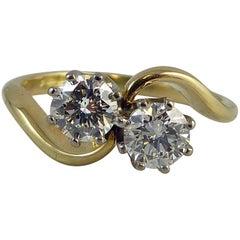 1950s 0.73 Carat Diamond Ring, Brilliant Cut Diamonds, Two-Stone Twist
