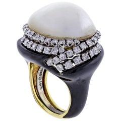 David Webb Black Enamel Mabé Pearl and Diamond Ring