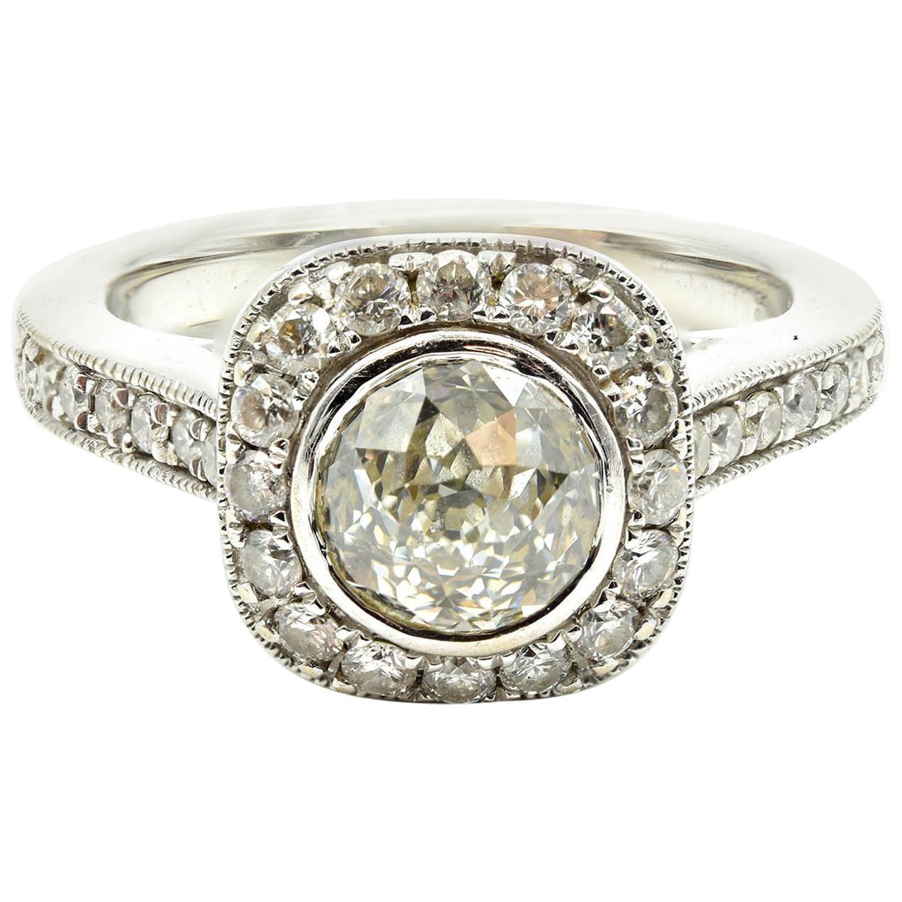 1.06 Carat U201cCrown Of Lightu201d Diamond 14 Karat White Gold Engagement Ring For  Sale