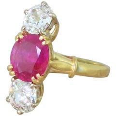 Edwardian 1.95 Carat Natural Ruby and 1.60 Carat Old Cut Diamond Trilogy Ring